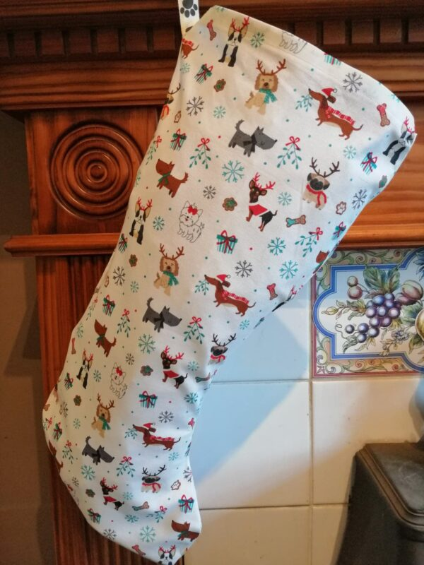 Christmas Stocking - Mixed dogs white